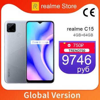 Перейти на Алиэкспресс и купить Realme C15, 4 ГБ, 64 ГБ, глобальная версия, 6000 мАч, аккумулятор, 13 МП, четыре камеры, 6,5 дюймов, полноэкранный, 3 слота для карт, Helico G35, Восьмиядерный, NFC