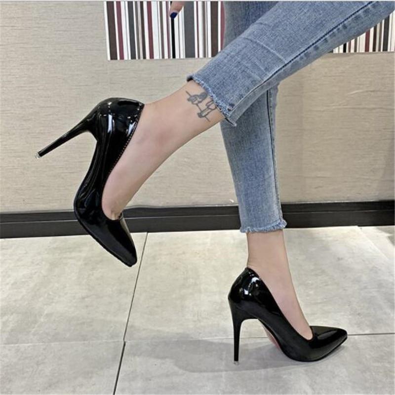 black patent work shoes