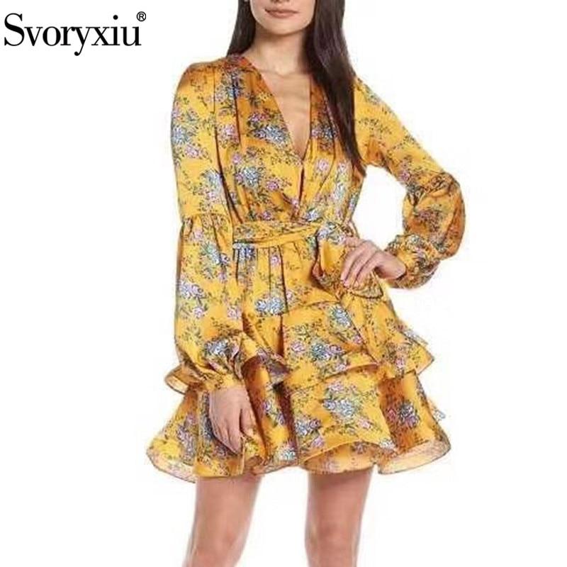 Svoryxiu concepteur automne imprimé à volants avec ceinture taille haute robe femmes Sexy col en V bouffée à manches longues mode robes de fête