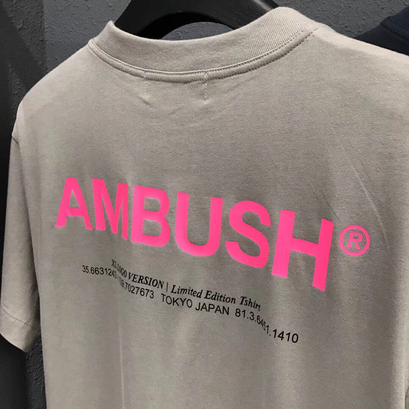Pink Tshirts Ambush 3M Reflective T Shirt Men Women Casual Streetwear Letter Tee Fashion Kanye Justin Bieber Ambush T-shirt