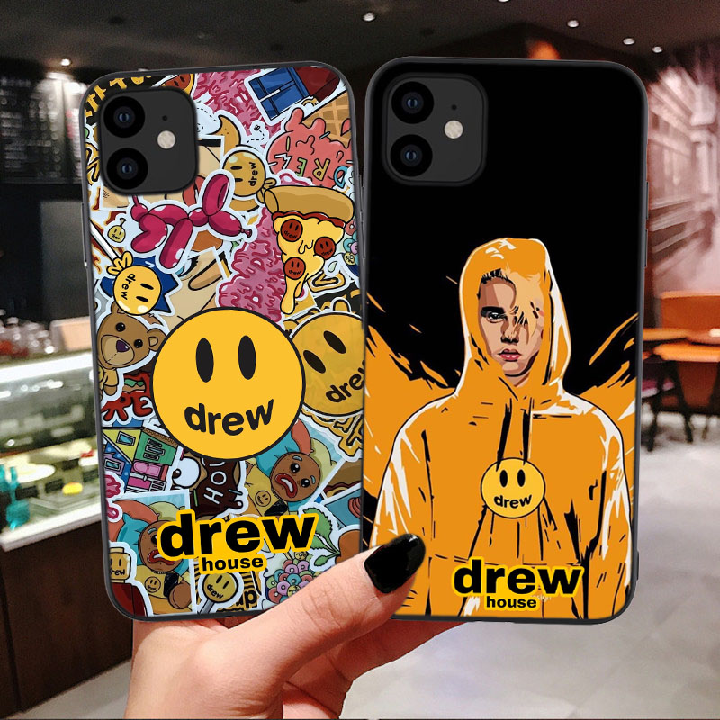 Luxury brand Drew House Justin Bieber Soft Phone Case For iPhone 11 Pro MAX Smiley face For iPhone X SE 6 6S 7 8 Plus XR Xs Max|Half-wrapped Cases| |  - AliExpress