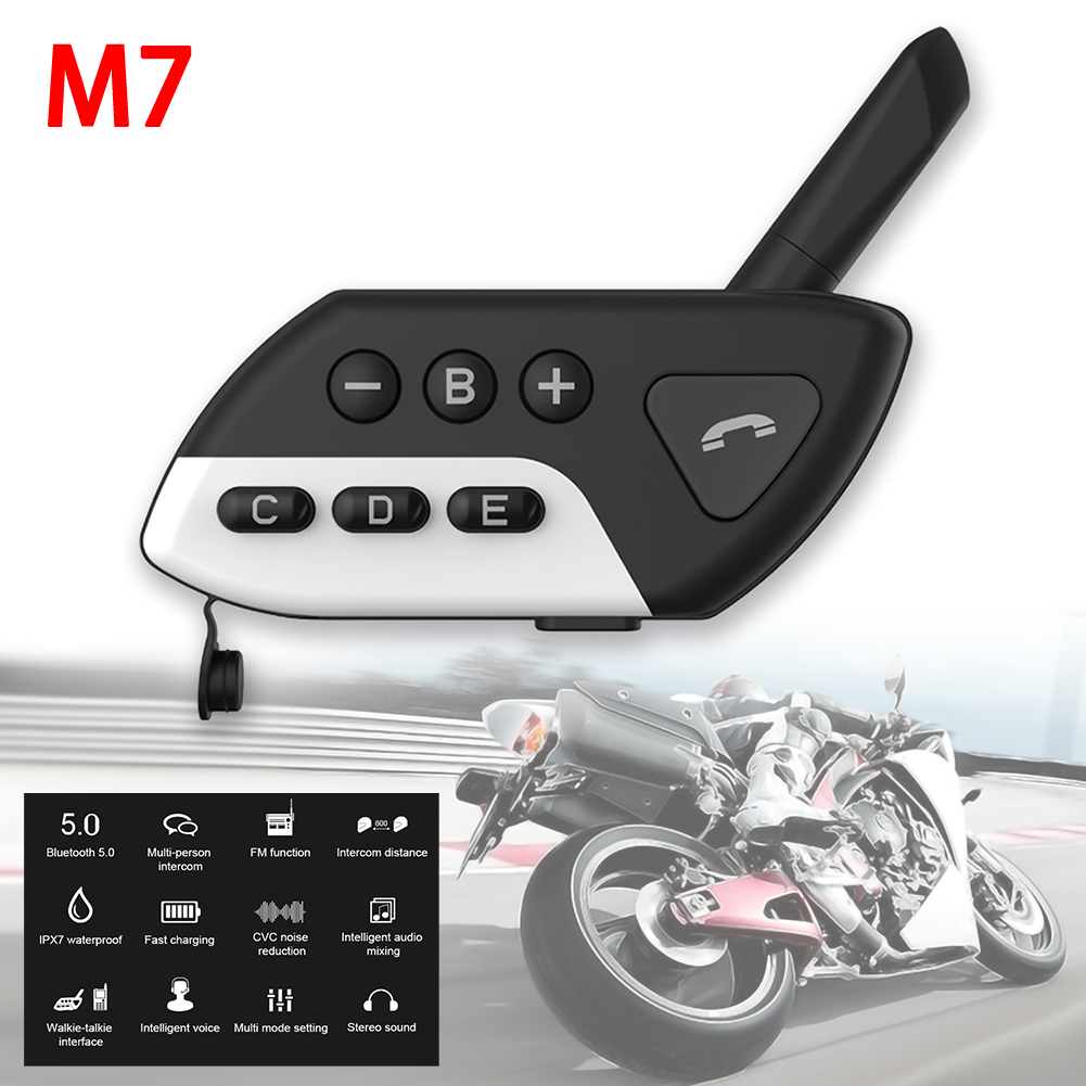 Motorrad Intercom M7 Multi BT Sprech Bluetooth Motorrad Helm Sprechanlagen Intercomunicador Moto Interfones Headset FM MP3