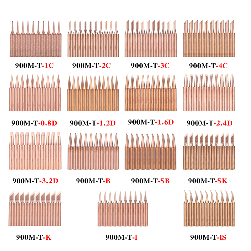 10PCS/Lot Copper Solder Iron Tip 900M-T-K/SK/I/IS/B/1C/2C/3C/4C/0.8D/1.2D/1.6D/2.4D/3.2D/SB Welding Head For 936 Soldering Tool