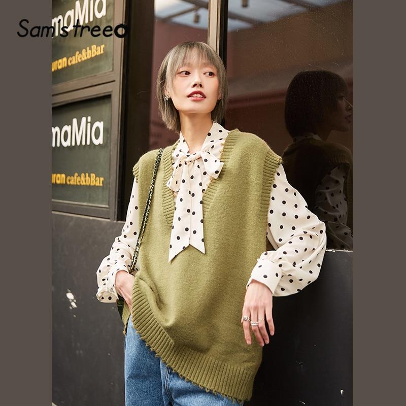 SAM'S TREE Red Solid Minimalist Fringe Sarafan Sweater Vest Women 2020 Spring Black Sleeveless Vintage Casual Ladies Basic Tops