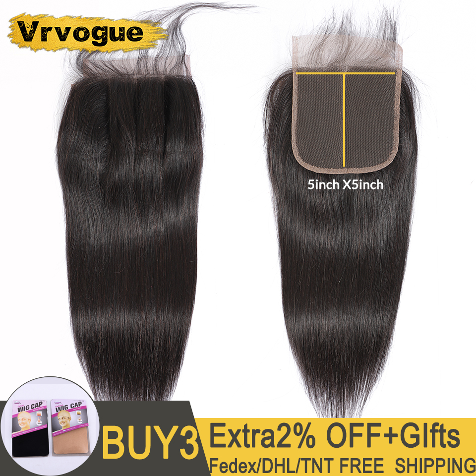 Vrvogue 5x5 Lace Closure Peruvian Straight Hair Swiss Lace Pre Plucked With Baby Hair Free/Middle/Three Part Remy Human Hair