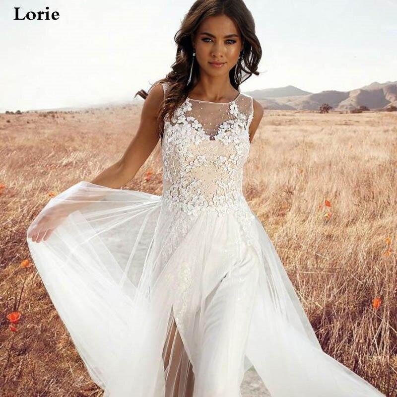 Lorie Wedding Dress Boho A Line  Lace Vestido De Novia Sleeveless Side Split Bride Dresses Custom Made