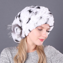 New Women Knitting Real Rex Rabbit Fur Hat 100 Natural Soft Real Rex Rabbit Fur Caps Lady Winter Warm Real Rex Rabbit fur Hats cheap KACCIVEL Fox Fur Office Lady Thick Warm Fur Thick (Winter) Real Fur Knitted H214 Solid