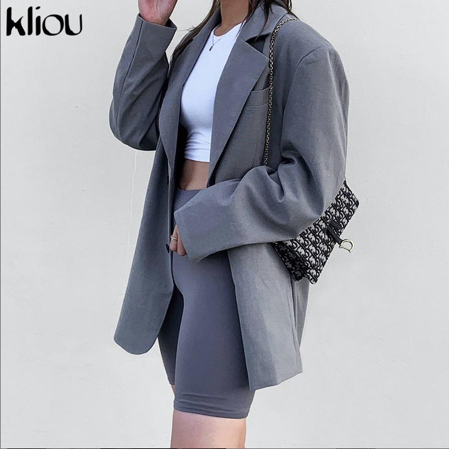 Kliou Single Breasted Plaid Women Blazer Jackets Female Suits Coat Sold Gray Feminino Blazers Long Sleeve Outerwear High Quality