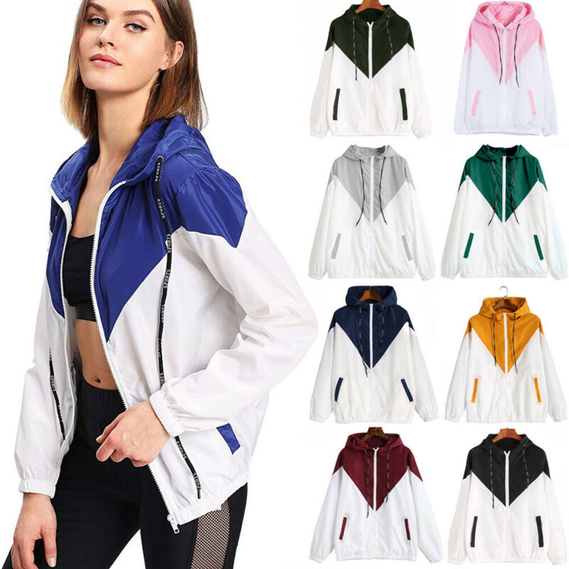 Women Patchwork Zipper Sports Jacket Hooded Coat Ladies Casual Outwear Long Sleeve Hoodies Sweatershirts Outdoor Tops
