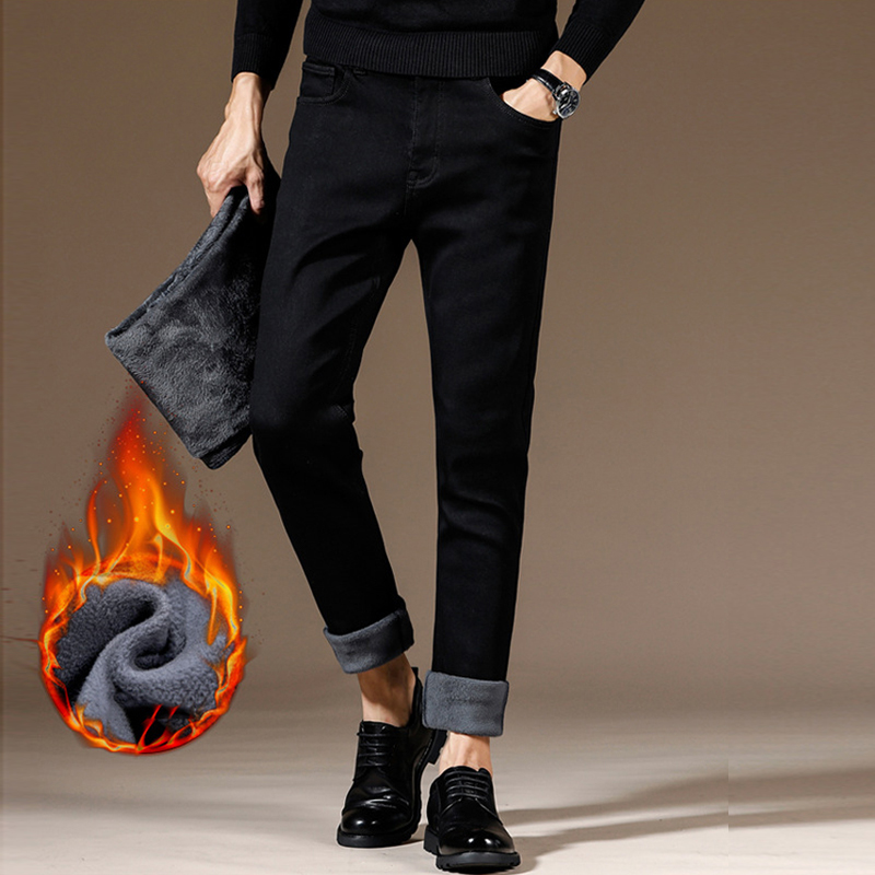 Fashion Winter Jeans Men High Quality Black Color Simple Elastic Thick Warm Jeans For Men Classical Casual Business Velvet Pants