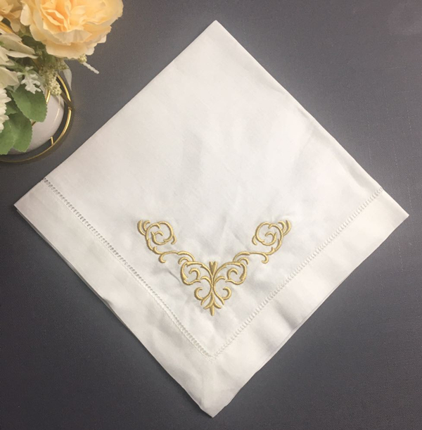 Set Of 12 Fashion Ninner Napkins White Hemstitched Linen Table Napkin With Gold Color Embroidered Floral 20x20-inch