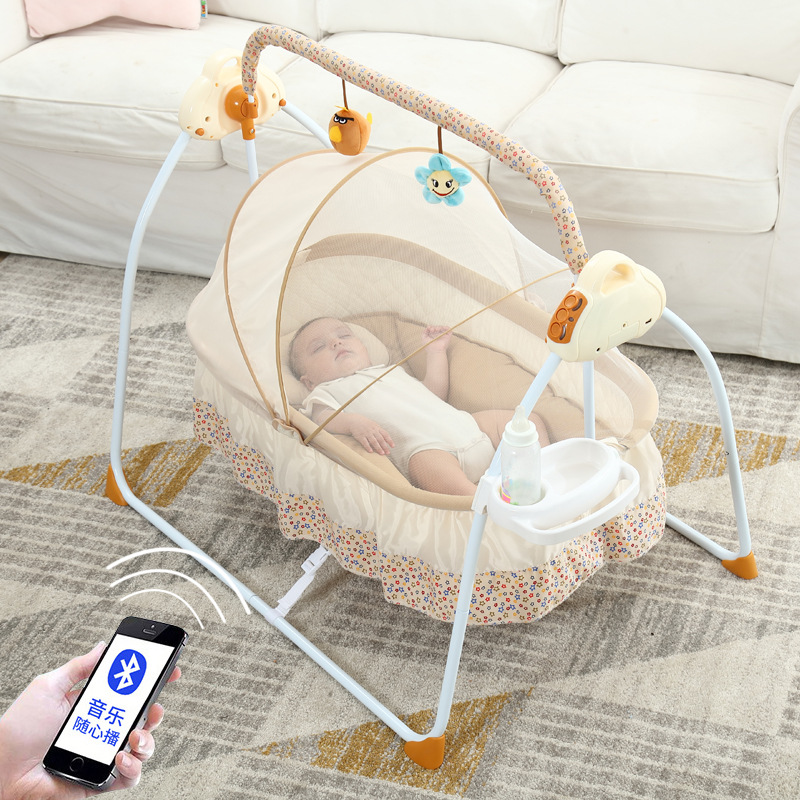 Electric Portable Baby Crib Netting Newborn Baby Folding Bed Bassinet Convertible Baby Crib Bedding Sets Nursery Home v3 VC