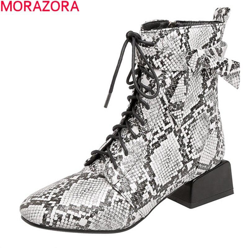 MORAZORA 2020 Grande formato 34-48 stivali delle donne di marca di modo del serpente tacchi med punta quadrata scarpe da donna autunno inverno caricamenti del sistema della caviglia