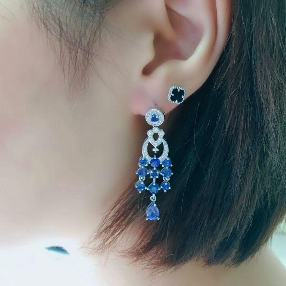 Image 2 - MeiBaPJ Luxury Sri Lanka Sapphire Gemstone Drop Earrings Real 925 Silver Fashion Earrings Fine Charm Wedding Jewelry for WomenEarrings   -