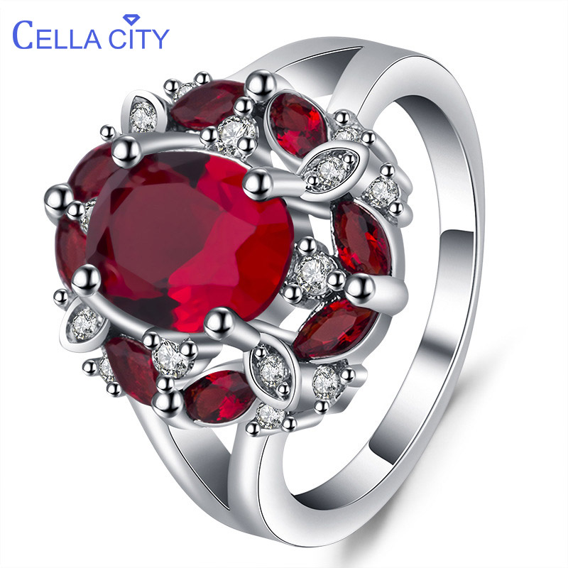 Cellacity Silver 925 ring for charm female luxury designer ruby finger ring Sapphire Aquamarine women fine Jewelry Size 6-10(China)