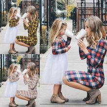 Одинаковые комплекты для семьи; одежда для мамы и дочки; платье; клетчатая рубашка для маленьких девочек