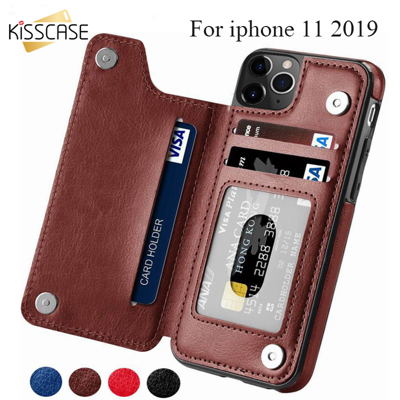KISSCASE Wallet Cases para iPhone 11 Pro Max 6S 6 7 8 Plus XS Max Shell Retro Flip Funda de cuero para teléfono para iPhone 5S 5 SE X 10 XR