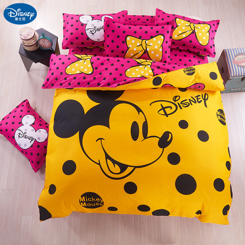 Disney Mickey Mouse Bedding Set Duvet Cover Pillowcase Minnie Mickey Cartoon Children Bed Set  Home Textile