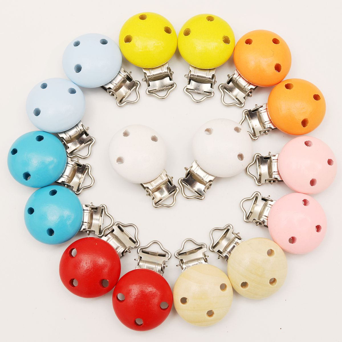 5Pcs New Round Shaped Pacifier Clip Wooden Bead Baby Teether Wood Teething Accessories Clip Nipple Clasps Toy DIY Bead Tool