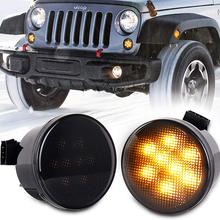 JK Turn Signal Lights Smoke Lens Amber LED Front Grill Indicator Parking Lights for Jeep-Wrangler JK JKU 2007-2017 1 pair right and left led tail lights red runing brake yellow turn signal white for jeep wrangler jk 07 16 eu
