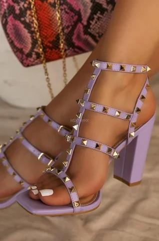 Women High Heels Casual Soft Women Shoes Summer New Fashion Rivet Buckle Pumps Square Heel Ankle Strap Plus Size Sandals Female