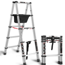 1.4+1.4M Trestle Ladder Multi-function Household Ladder Folding Telescopic Ladder Thickened Engineering Ladder Aluminum Alloy