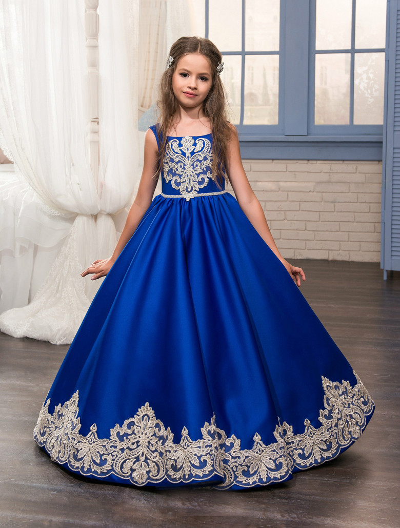 Royal Blue 2019   Flower     Girl     Dresses   For Weddings Ball Gown Satin Appliques Lace Bow Long First Communion   Dresses   Little   Girl