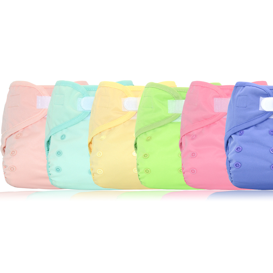 Miababy 6pcs/lotOne Size Diaper Cover Waterproof Breathable And Reusable Baby Diaper Ultra Thin Baby Cloth Diaper