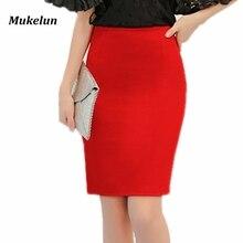 Модная Летняя коллекция, Женская юбка, черная, плюс размер, высокая талия, для работы, тонкая юбка-карандаш, красная открытая вилка, сексуальная Офисная Женская юбка для женщин