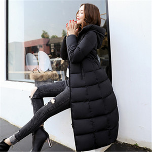 Image 5 - Autumn Winter Jacket Women Long Hooded Warm Overcoat Womens Down Jackets 2019 Fashion Plus Size 6XL Solid Color Parka Coat