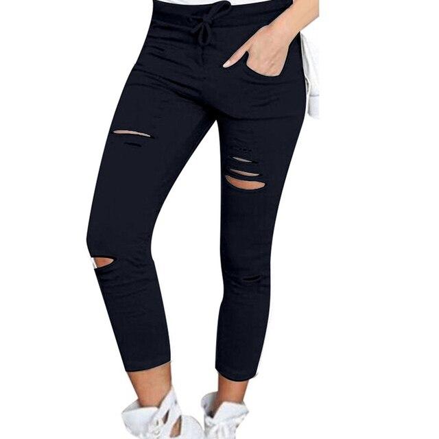 Pantalones pitillo de talla grande con cordón de Color sólido, mallas pitillo rasgadas de cintura alta, pitillos rasgados 3