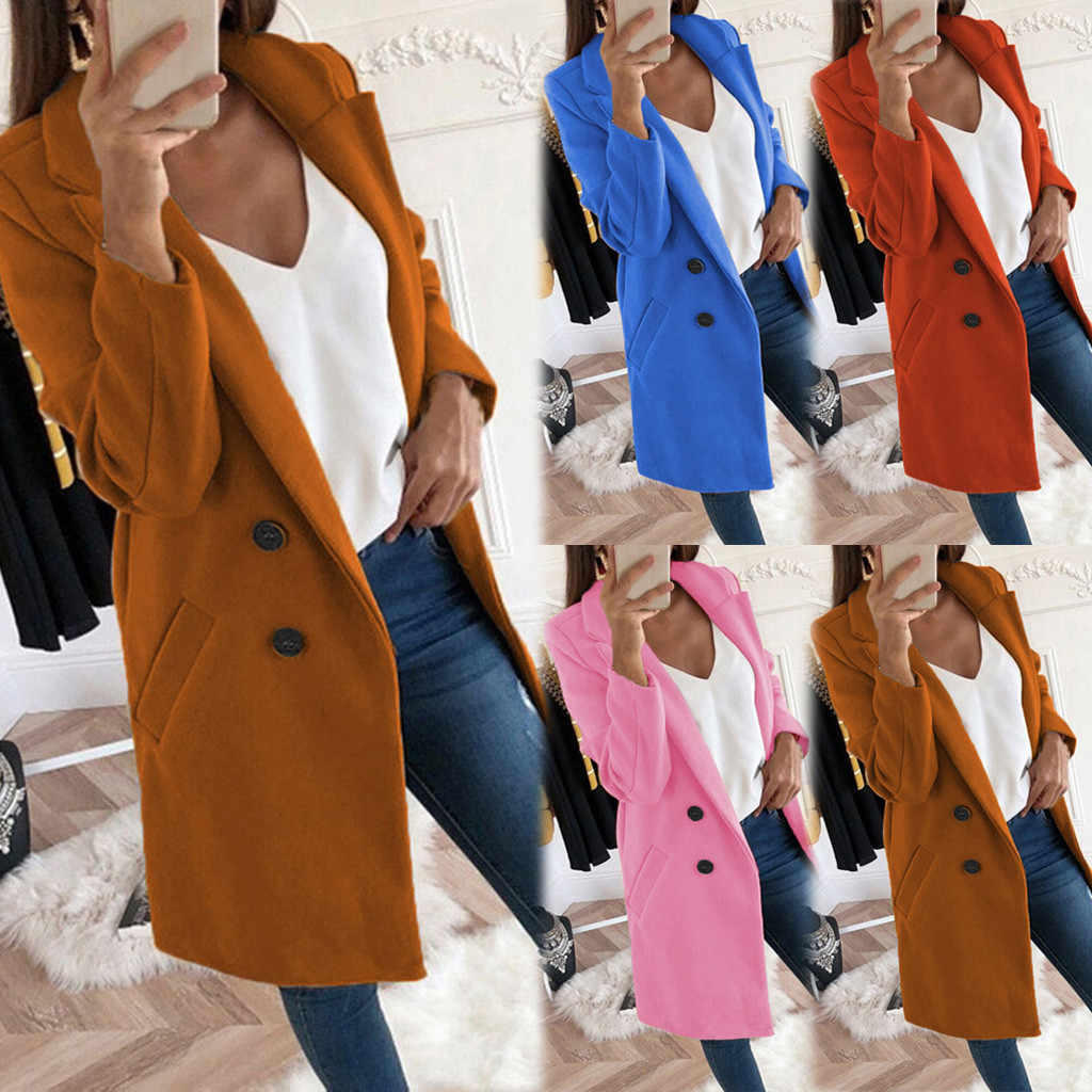 chaqueta mujer Woman Artificial Wool Elegant Blend Coat Slim  Female Long Coat Outerwear Jacket abrigos mujer invierno 2019