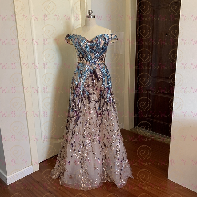Sexy Prom Dress 2021 Colorful Sequin Off Shoulder Sweetheart Long Party A Line Formal Graduation Gown Evening Celebration Dress 3