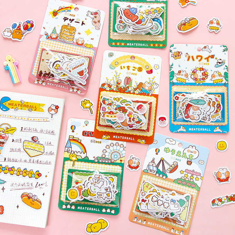 40 PCS/Pack Cute Cartoon Cat Dessert Stickers Funny Sticker Flakes Decorative Stationary Scrapbooking Gift Girl School Supplies