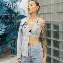 DEAT 2020 New Summer High Street Wrapped Chest Patchworke Irregular Sleeve Fashion Sexy Style Denim