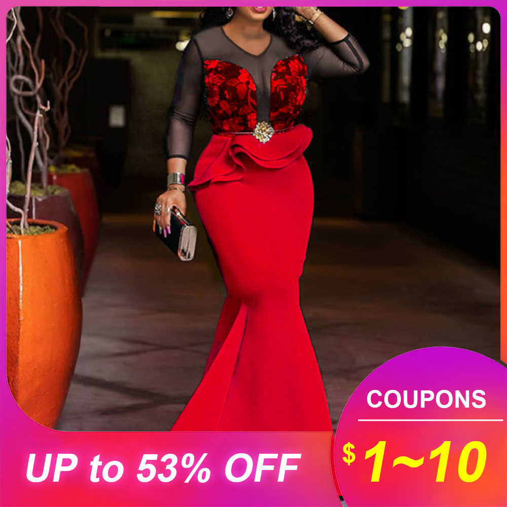 Green Red Women Long Mermaid Dresses African Sexy Mesh Printed Party Dinner Night Dress Robe Femm Elegant Trumpets Dress Vestiod