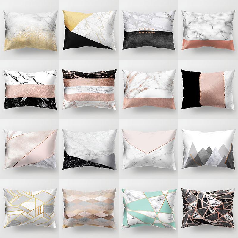 Gold Marble Geometric Sofa Decorative Cushion Cover Pillow Pillowcase Polyester 30*50cm Throw Pillow Home Decor Pillowcover