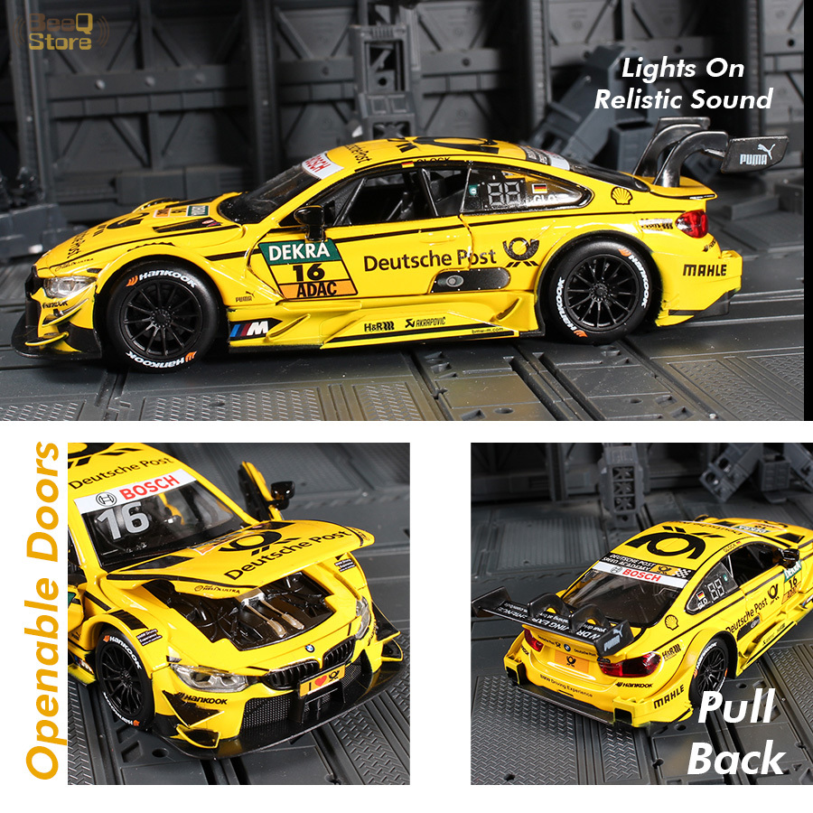 1:32 Diecast Alloy Car Model Toys For M4 DTM Racing Car Toy Pull Back Function Light And Music Simulation For Children Gift