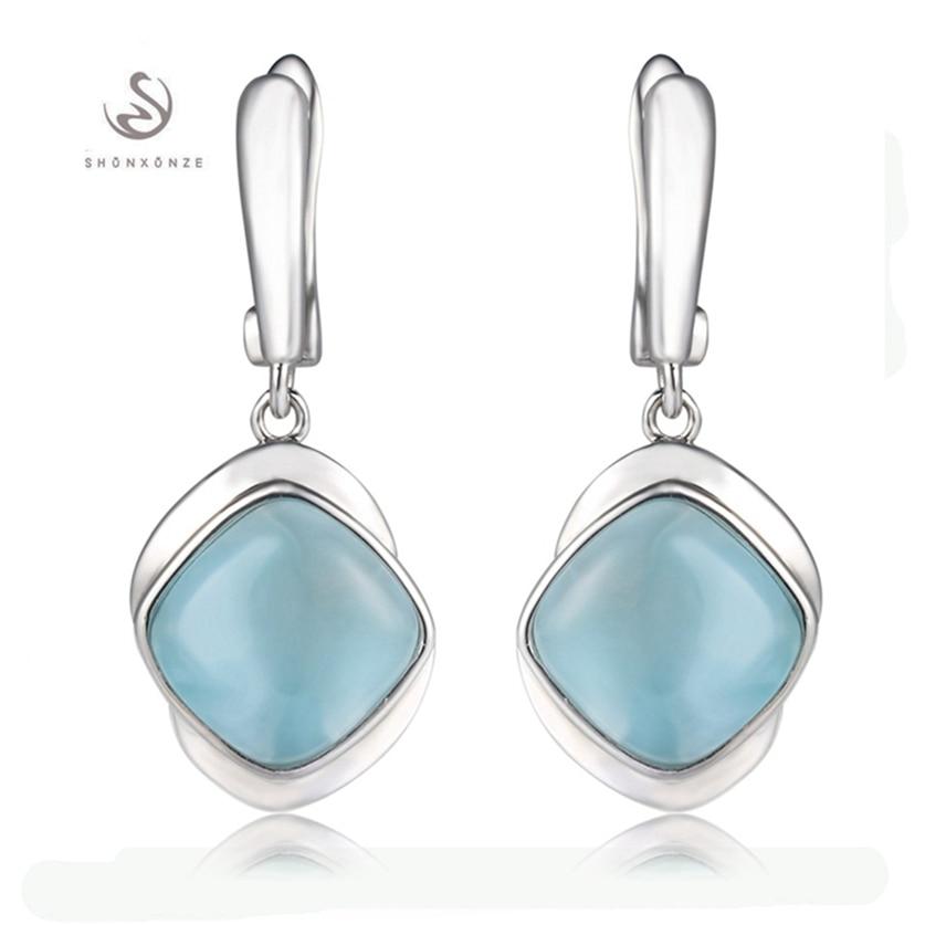 Eulonvan 925 argent sterling Larimar boucles d'oreilles en pierre naturelle cadeaux de noël pour les femmes bijoux et accessoires livraison directe S-3805