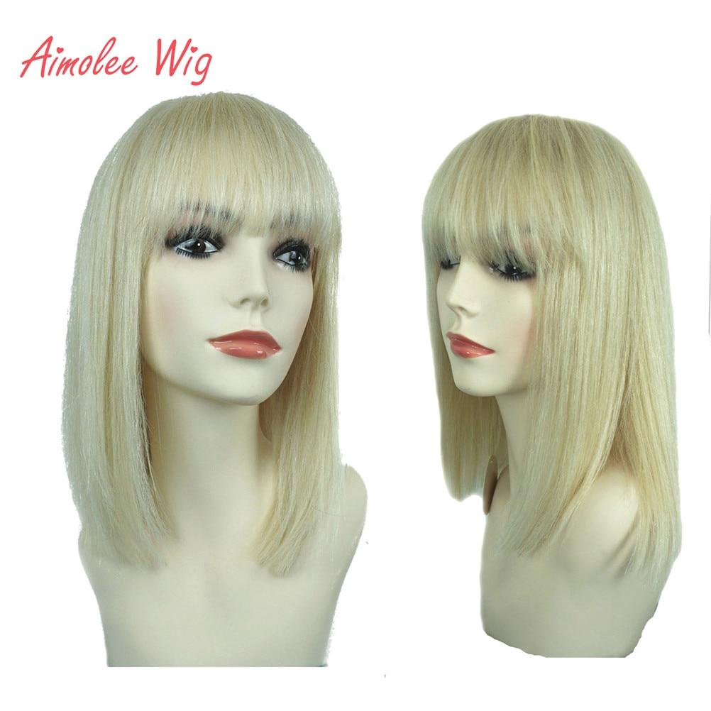 Aimolee Women's Human Hair Wig Bob Color 613 Top Crochet Hook Natural Wigs