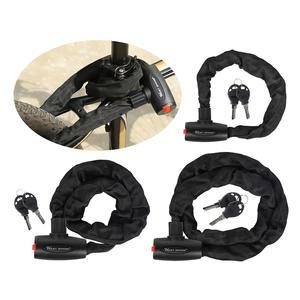 Chain-Lock Heavy-Duty Bike Bicycle-Locks-Steel Anti-Theft 6mm Thick with 2-Keys Cut-Resistant