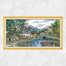 The Peaceful Countryside Cross Stitch kits 14ct Counted Printed Canvas 11ct Fabric Embroidery DIY Handmade Needlework Crafts