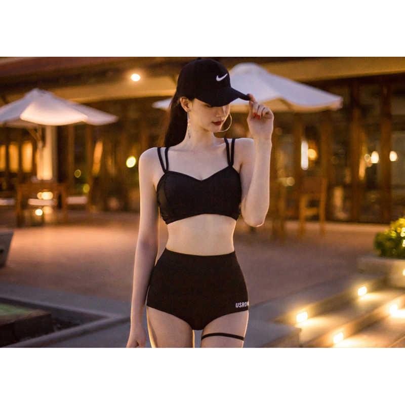 ביקיני פריחה משמר 2019 בגד ים בנות נקבה תלבושות חדש קוריאני סקסי שחור פרספקטיבה ליידי ארוך בגדי ים לנשים לדחוף את