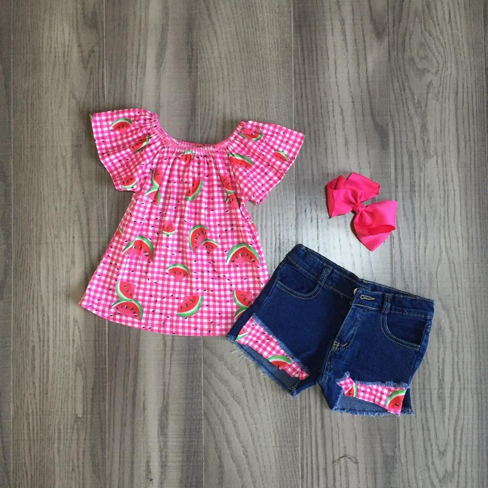 baby girls summer clothes girls watermelon print top jeans shorts girl outfits with bow 1