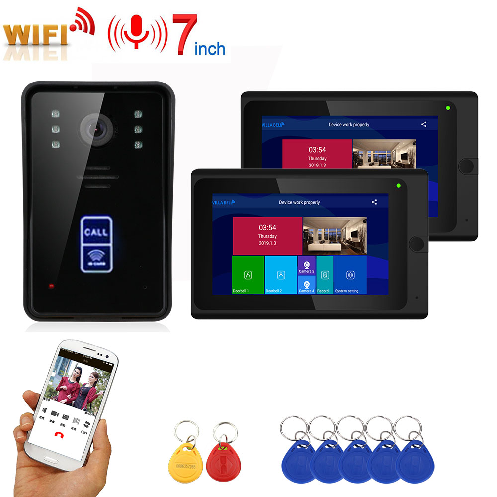 7inch 2 Monitors Wireless Wifi RFID Video Door Phone Doorbell Intercom Entry System With Wired IR-CUT 1080P Wired IR Camera