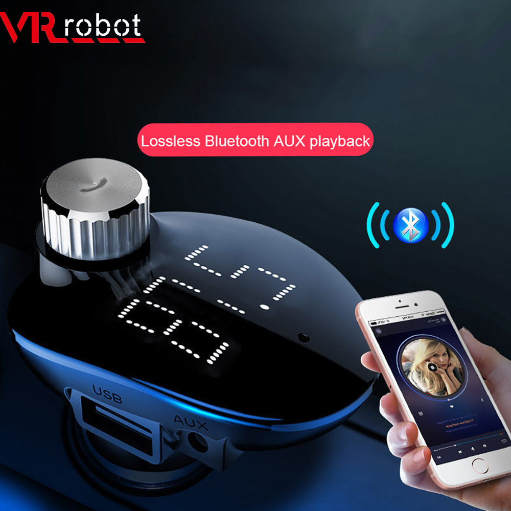 VR roboter 2019 Neue FM Transimtter Modulator Bluetooth Car Kit Aux Auto Audio MP3 Player 5V 3.4A USB ladegerät