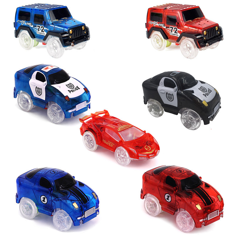 Electronics Glow Racing Track LED Car Toys Flashing Lights Boys Birthday Gift Kids Toy Play With Track Together
