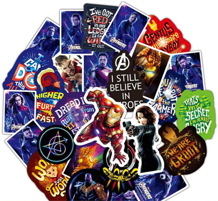 50PCS Marvel The Avengers Super Hero Stickers Pattern Sticker For Skateboard Guitar Luggage Motorcycle Car Phone Laptop Sticker