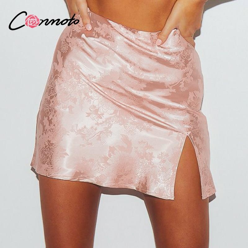 Conmoto Casual High Waist Satin Mini Club Sexy Women Skirts Slit Plus Size Femme Skirt Short Summer 2020 Floral Pink Skirt