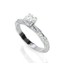 EF цвет круглой огранки 0.6ct Муассанит Обручальные Кольца Twist Band с 14 к кольцо из белого золота для женщин юбилей свадебный подарок